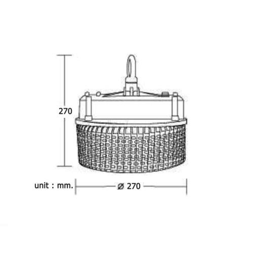 ความสูง ความกว้าง โคมไฮเบย์ LED (HBA) 150W (เดย์ไลท์) BEC