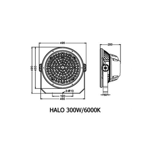 ขนาดของโคมไฮเบย์ LED HALO 200W (เดย์ไลท์) BEC