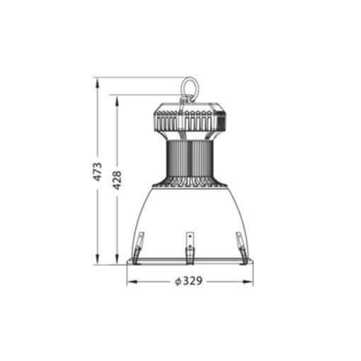 ความสูงและความกว้างโคมไฮเบย์ LED (SPG) 150W (เดย์ไลท์) EVE