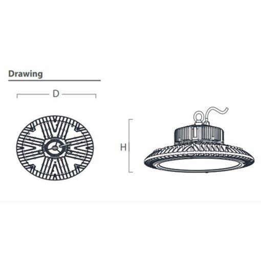 ขนาดของโคมไฮเบย์ LED (IU) 150W (เดย์ไลท์) EVE