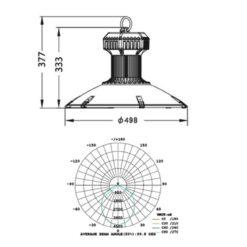 ขนาดโคมไฮเบย์ LED (SDD) 150W (เดย์ไลท์) EVE