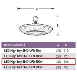 รายละเอียดโคมไฮเบย์ LED 150W EVE เดย์ไลท์ (SMD UFO)