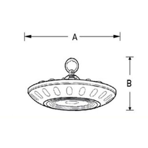 ขนาดโคมไฮเบย์ LED 200W EVE เดย์ไลท์ (SMD UFO)