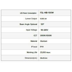 รายละเอียดโคมไฮเบย์ LED 100W (เดย์ไลท์) FSL