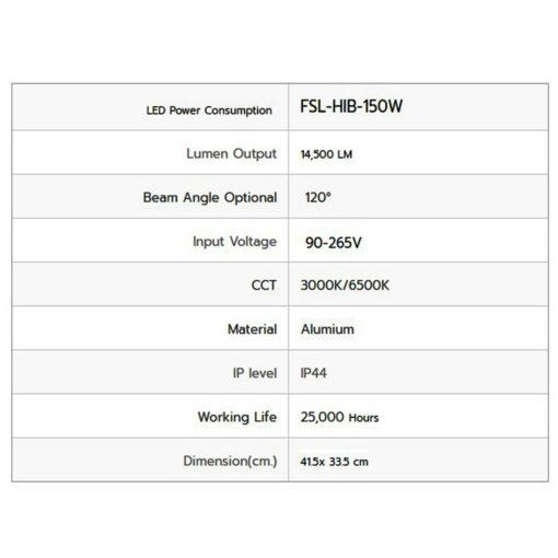 รายละเอียดโคมไฮเบย์ LED 150W (เดย์ไลท์) FSL