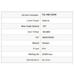 รายละเอียดโคมไฮเบย์ LED 200W (เดย์ไลท์) FSL