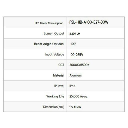 รายละเอียดหลอดไฟไฮเบย์ LED FSL 30W (วอร์มไวท์)