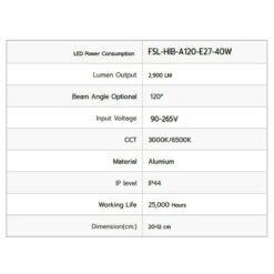 รายละเอียดหลอดไฟไฮเบย์ LED FSL 40W (วอร์มไวท์)