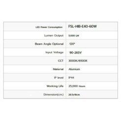 รายละเอียดหลอดไฟไฮเบย์ LED FSL 60W (วอร์มไวท์)