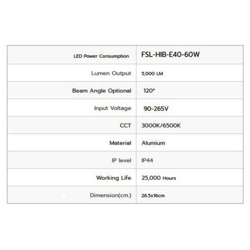 รายละเอียดหลอดไฟไฮเบย์ LED FSL 60W (เดย์ไลท์)