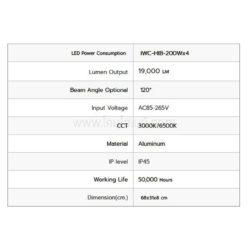 ข้อมูลเฉพาะโคมไฮเบย์ LED 200W (วอร์มไวท์) IWACHI
