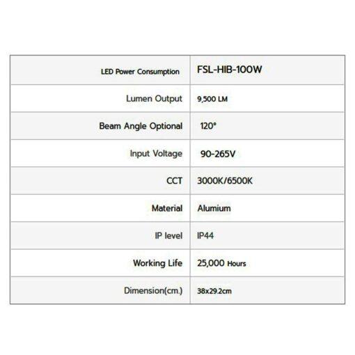 รายละเอียดโคมไฮเบย์ LED IWACHI FACTORYLIGHT 100W (วอร์มไวท์)