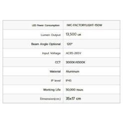 รายละเอียดโคมไฮเบย์ LED IWACHI FACTORYLIGHT 150W (เดย์ไลท์)