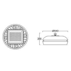 ขนาดโคมไฮเบย์ LED 200W (เดย์ไลท์) L&E
