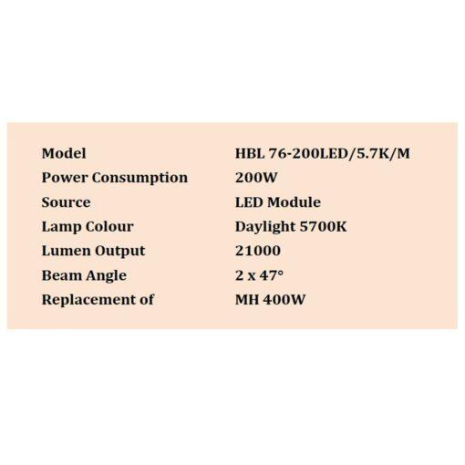 รายละเอียดโคมไฮเบย์ LED 200W (เดย์ไลท์) L&E