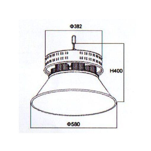ขนาดโคมไฮเบย์ LED 400W (วอร์มไวท์) NEOX