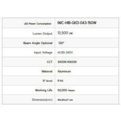 รายละเอียดโคมไฮเบย์ LED GKD-043 150W (วอร์มไวท์) IWACH