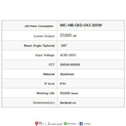 รายละเอียดโคมไฮเบย์ LED GKD-043 300W (วอร์มไวท์) IWACHI