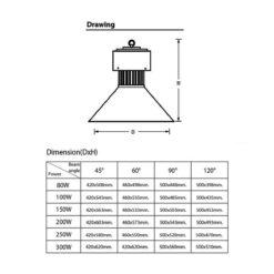 ขนาดของโคมไฮเบย์ LED YM-5HB 150W (เดย์ไลท์) EVE