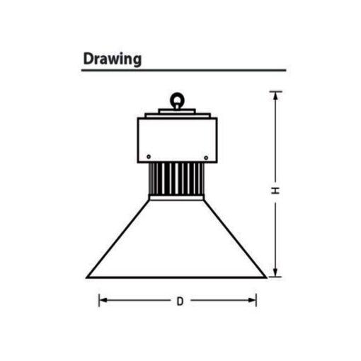 ขนาดของโคมไฮเบย์ LED YM-HB 100W (วอร์มไวท์) EVE
