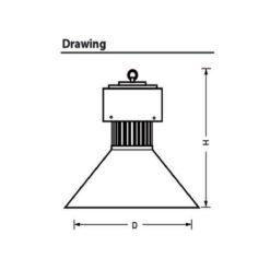 ขนาดของโคมไฮเบย์ LED YM-HB 150W (เดย์ไลท์) EVE