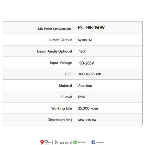 รายละเอียดโคมไฮเบย์ LED 150W (วอร์มไวท์) FSL