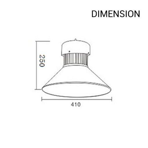ขนาดของโคมไฮเบย์ LED 50w LAMPO (เดย์ไลท์)