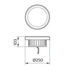 ขนาดของโคมไฮเบย์ LED SmartBright BY228P Philips 100W (CW)