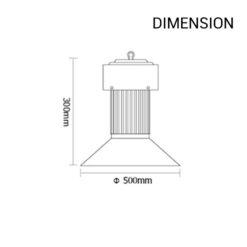 ขนาดของโคมไฮเบย์ LED 100w LAMPO (เดย์ไลท์)