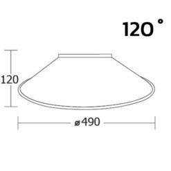 ขนาดฝาชีโคมไฮเบย์ 120 องศา (แบบพ่นทราย) ยี่ห้อ BEC