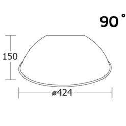 ขนาดของฝาชีโคมไฮเบย์ 90 องศา (แบบพ่นทราย) ยี่ห้อ BEC