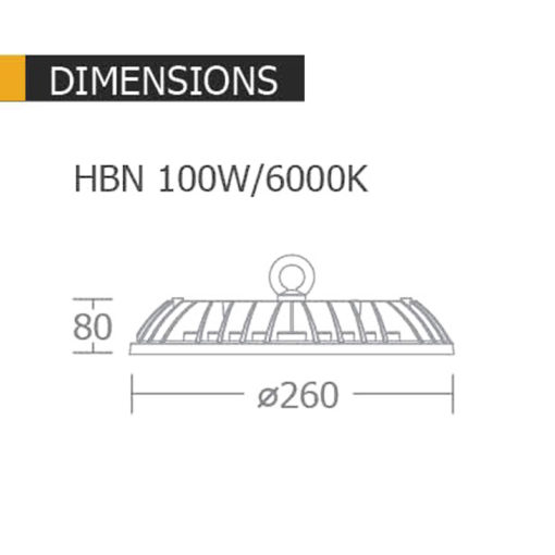 ขนาดของโคมไฟไฮเบย์ 100w HBN ยี่ห้อ BEC