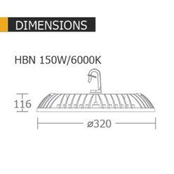 ขนาดโคมไฟไฮเบย์ 150w HBN ยี่ห้อ BEC