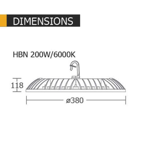 ขนาดของโคมไฟไฮเบย์ 200w HBN ยี่ห้อ BEC